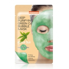 PUREDERM Deep Purifying Green O2 Bubble Mask Green Tea